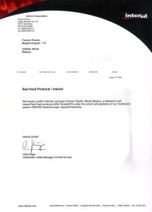 Intersil Certificate